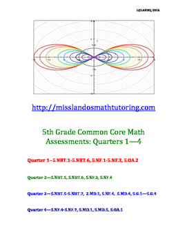 5th Grade Common Core Math Assessments: Quarters 1-4 [ANSW