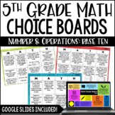 5th Grade Common Core Math Choice Boards {Number and Opera