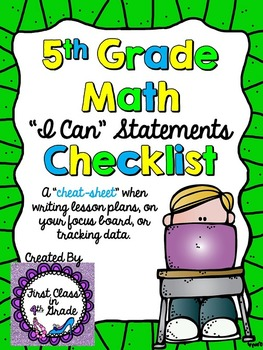 "5th Grade Common Core Math ""I Can"" Checklist (Ink Saver)"
