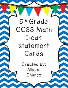 5th Grade Common Core Math I Can Statement Cards