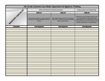 5th Grade Common Core Math Mastery Checklist: Operations &