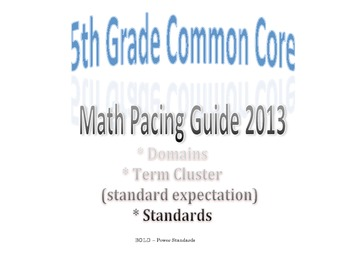 5th Grade Common Core Math Pacing Guide