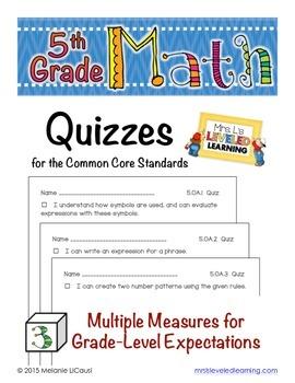5th Grade Common Core Math Quizzes - All Standards