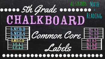 5th Grade Common Core Math/Reading Chalkboard Labels (Ster