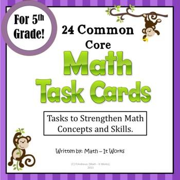5th Grade Common Core Math Task Cards