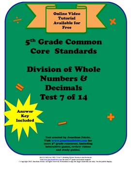 5th Grade Common Core Standards Division Test