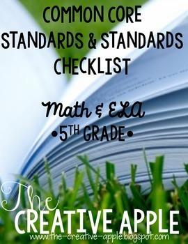 5th Grade Common Core Standards & Standards Checklist: Math & ELA