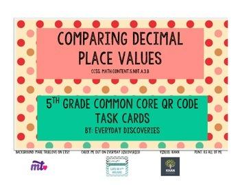 5th Grade Comparing Decimals QR Task Cards