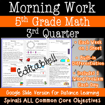 5th Grade Daily Math Morning Work - 3rd Quarter