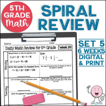 5th Grade Daily Math Spiral Review * Common Core Aligned *