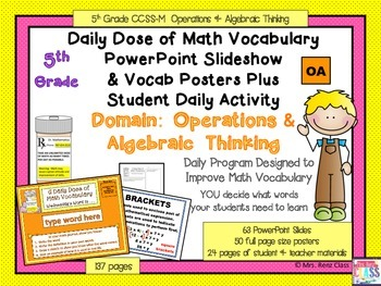 Operations in Algebraic Thinking Math Word WallPosters and