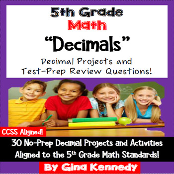 5th Grade Decimals, 30 Enrichment Projects and 30 Test-Pre