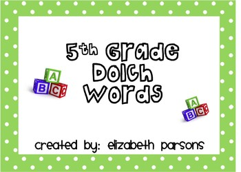 5th Grade Dolch Words - Lime Green