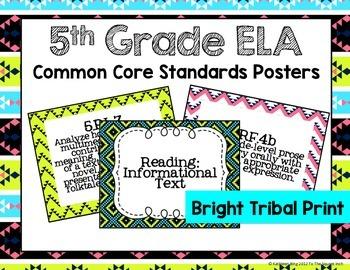 5th Grade ELA Common Core Posters- Bright Tribal Print