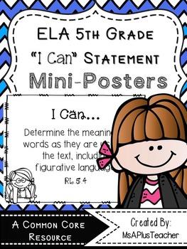 "5th Grade ELA ""I Can"" Statements (Melonheadz Thinkers)"