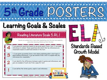 5th Grade ELA Posters with Marzano Scales - Aligned to Com