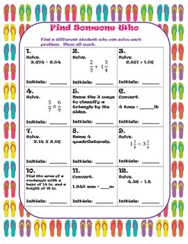 5th Grade- End of the Year- Find Someone Who Math Activity