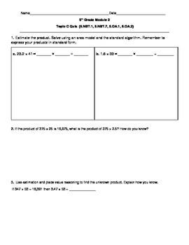 5th Grade EngageNY/Eureka Math Module 2 Topic C Quiz/Review