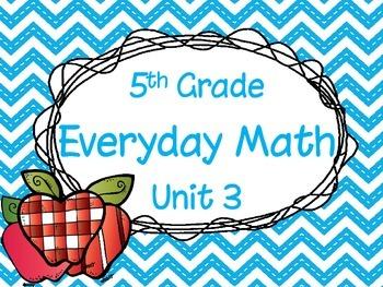 5th Grade Everyday Math Unit 3 Materials