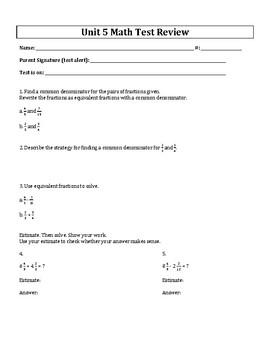 5th Grade Everyday Mathematics / EDM (4) / Math Unit 5 Tes