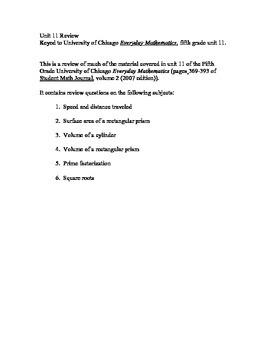 5th Grade Everyday Mathematics Unit 11 Review