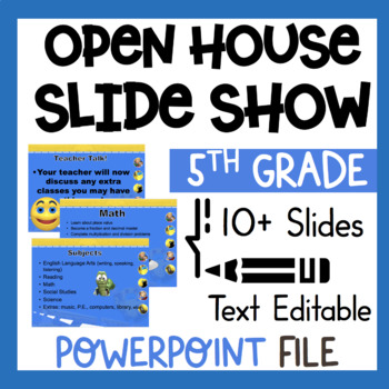 5th Grade Welcome Back to School Open House Editable Power