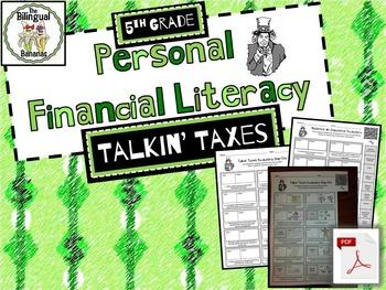 5th Grade Financial Literacy: Taxes Vocabulary (Bilingual,
