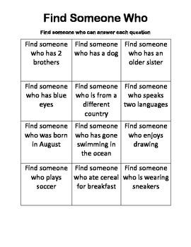 5th Grade Find Someone Who