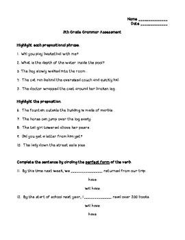 5th Grade Grammar Pre/Post Assessment