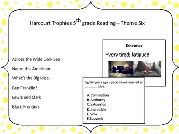 5th Grade Harcourt Trophies Vocabulary Powerpoint Theme Six