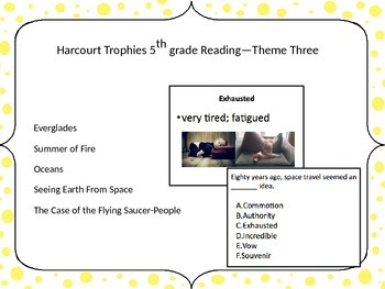 5th Grade Harcourt Trophies Vocabulary Powerpoint Theme Three
