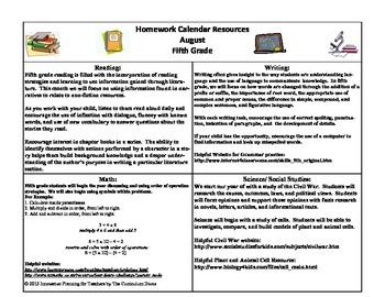 5th Grade Homework Calendar For the Year