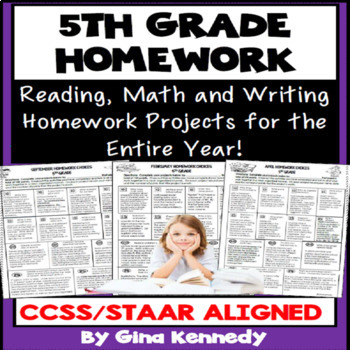 5th Grade Math, Reading and Writing Homework for the Entire Year!