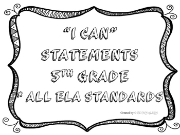 5th Grade I CAN Statements All ELA Standards Black& White