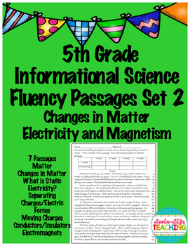 Fluency Passages 5th Grade Fluency Set 2- Matter, Electric
