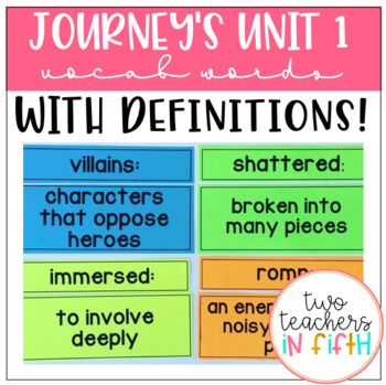 5th Grade Journey's Unit 1 Vocabulary Words and Definitions Cards
