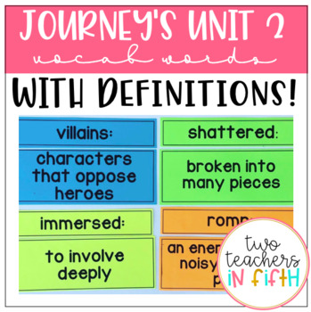 5th Grade Journey's Unit 2 Vocabulary Words and Definitions Cards