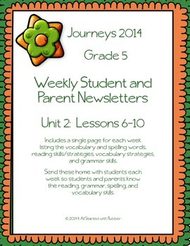 5th Grade Journeys 2014, Unit 2, Weekly Newsletters