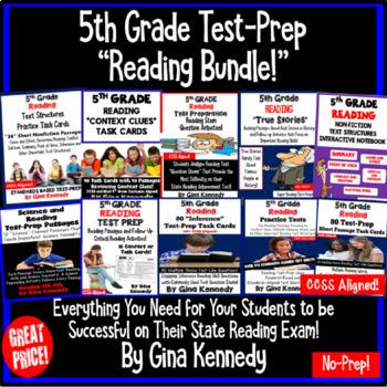 5th Grade Common Core Reading Test Prep BUNDLE