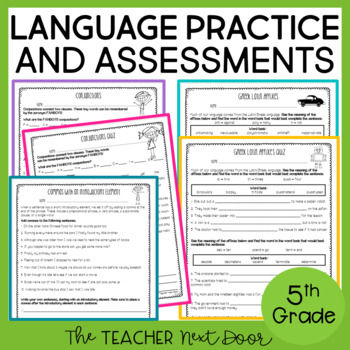 5th Grade Language Assessments and Practice Pages