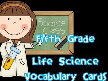 5th Grade Life Science Vocabulary Cards