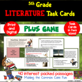 5th Grade Literature Task Cards and Game