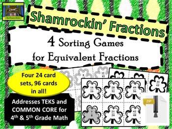 5th Grade Shamrock Themed Equivalent Fractions Sort (TEKS,
