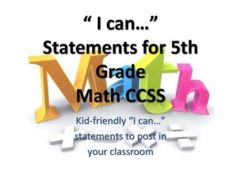"""5th Grade MATH CCSS """"I Can"""" Statements {Editable PowerPoin"""