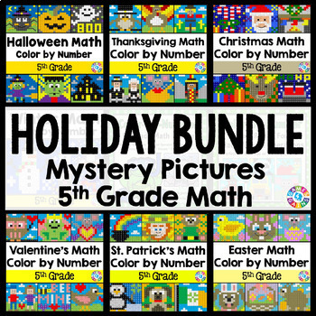 5th Grade Math Activities: 5th Grade Color by Number Revie