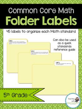 5th Grade Math CCSS Folder Labels