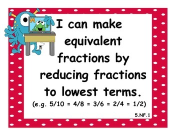 5th Grade Math CCSS I Can Statements - Monster Theme