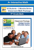 5th Grade Math - Classroom Package (25 Students, 3-Months)