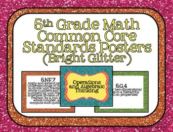 5th Grade Math Common Core Posters- Bright Glitter