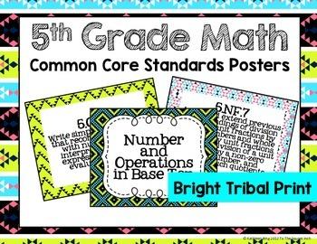 5th Grade Math Common Core Posters- Bright Tribal Print